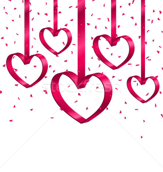 Beautiful Background with Ribbon Hearts and Tinsel Stock photo © smeagorl