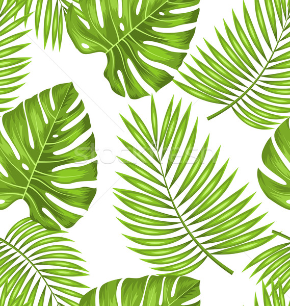 Seamless Wallpaper with Green Tropical Leaves for Fabric Swatch Stock photo © smeagorl