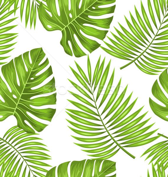 Sem costura papel de parede verde tropical folhas tecido Foto stock © smeagorl