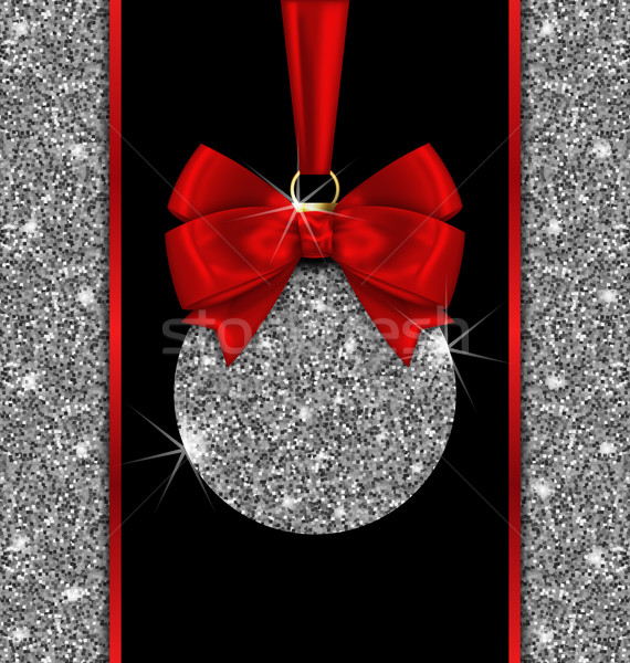 Stock photo: Glitter Card with Christmas Ball and Red Bow Ribbon