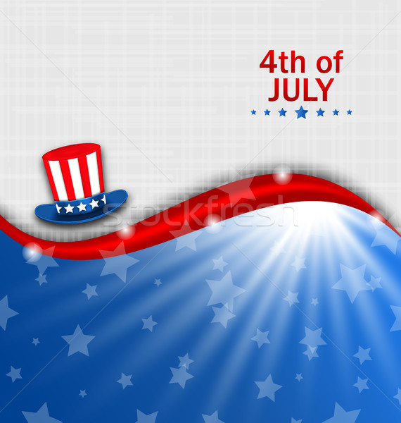 Abstract American Poster for Independence Day USA, Fourth July, Hat Uncle Sam Stock photo © smeagorl