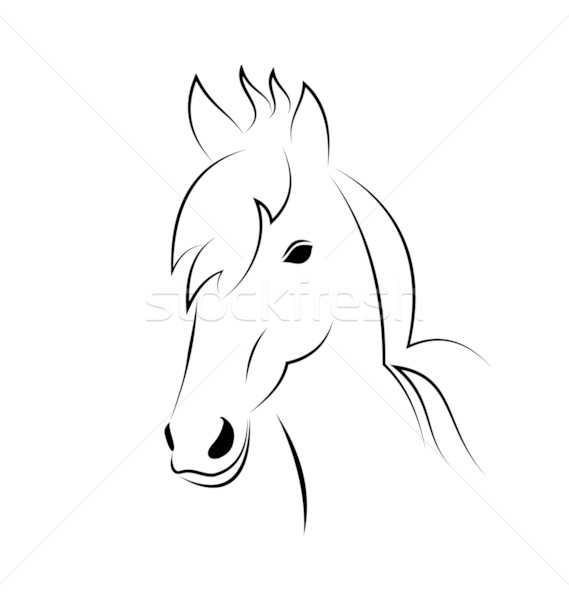 Symbol outline head horse isolated on white background Stock photo © smeagorl