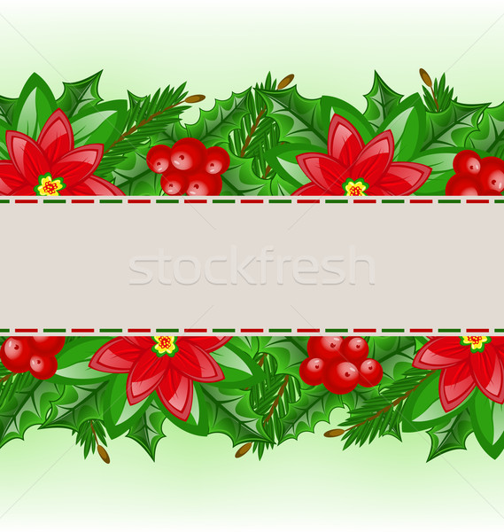Christmas card with holly berry and poinsettia Stock photo © smeagorl