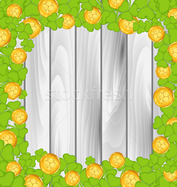 Border with shamrocks and golden coins for St. Patrick's Day, gr Stock photo © smeagorl