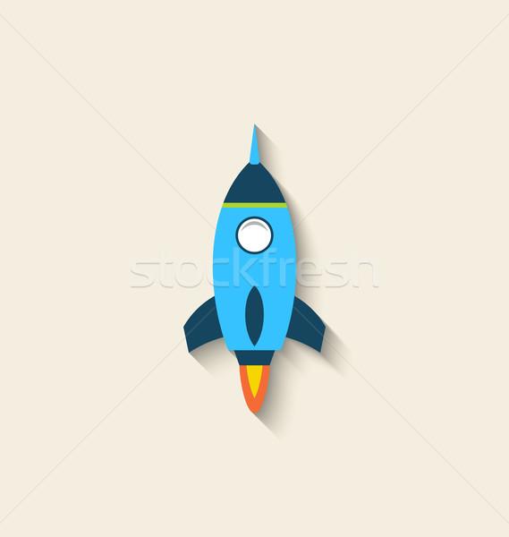 Foto stock: ícone · foguete · longo · sombra · estilo · ilustração