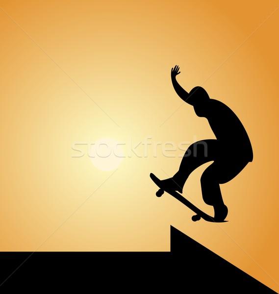 Illustration of black silhouette skateboard man and arrow Stock photo © smeagorl