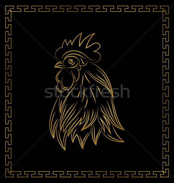 Golden Cock, Chinese Calendar Symbol of 2017 Year. Stock photo © smeagorl