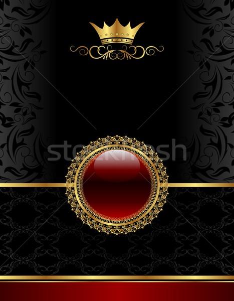 Arany klasszikus keret virágmintás medál illusztráció Stock fotó © smeagorl