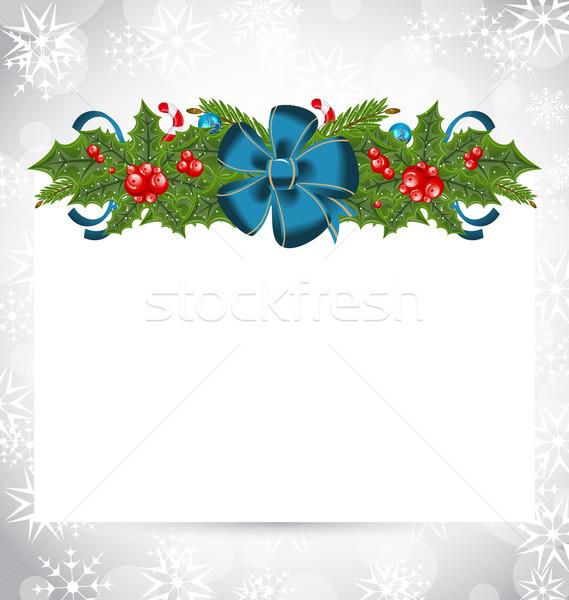 Foto d'archivio: Natale · elegante · carta · vacanze · decorazione · illustrazione