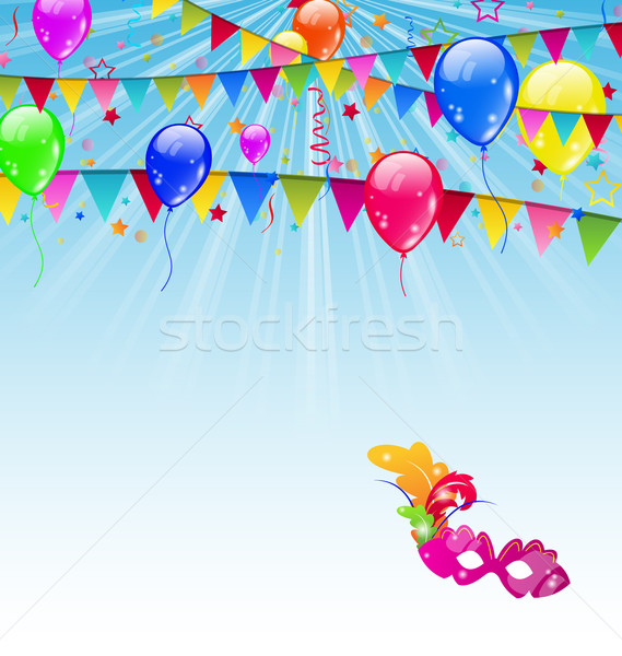 Carnival background with flags, confetti, balloons, mask Stock photo © smeagorl