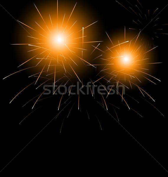 Christmas dark background with fireworks Stock photo © smeagorl