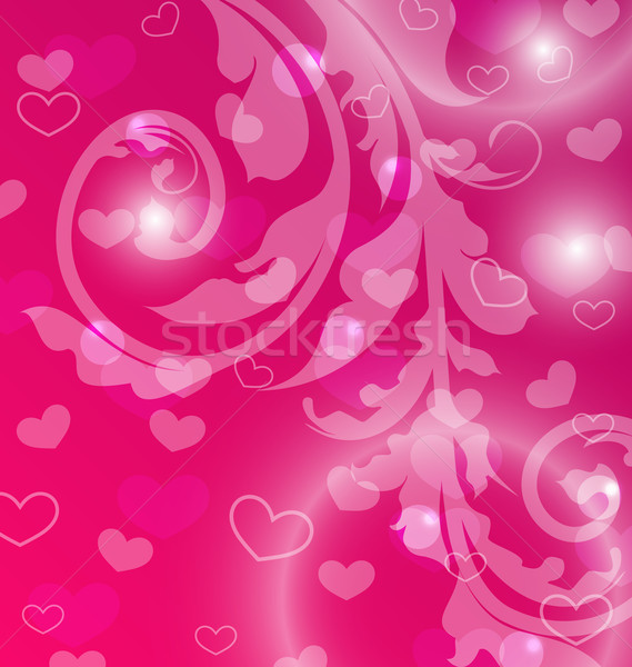 Valentine Day template with abstract floral elements and light e Stock photo © smeagorl