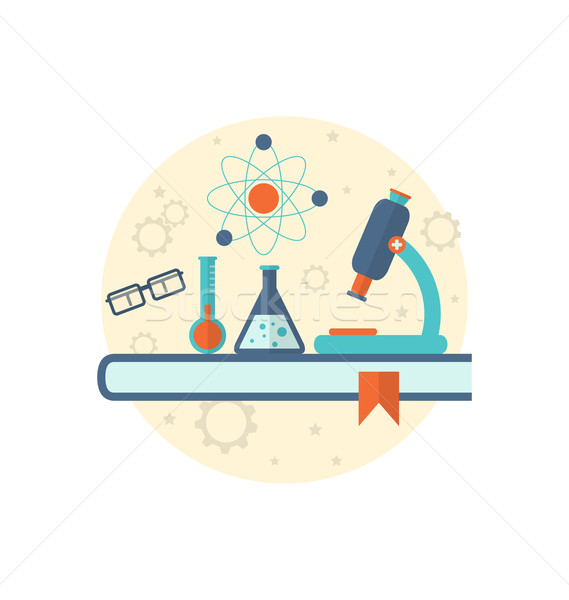 Chemical engineering background with flat icon of objects Stock photo © smeagorl