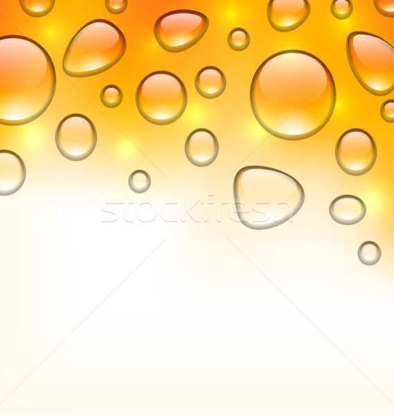 Stock photo: Clean water droplets on orange surface, copy space for your text