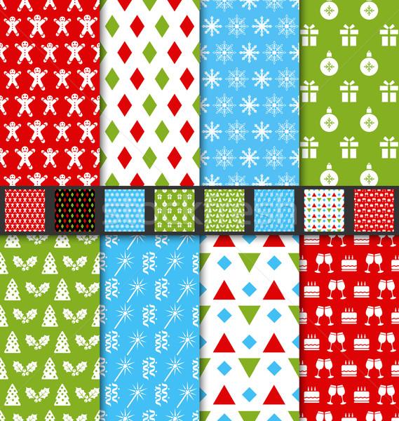 Set Seamless Textures for Winter Holidays Stock photo © smeagorl