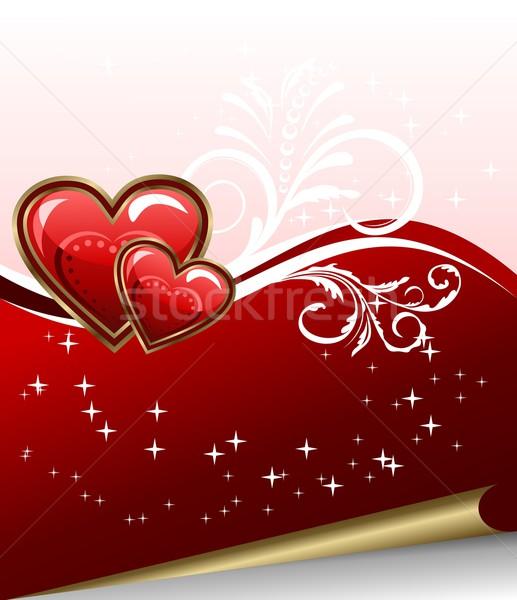 Romantische elegantie hart illustratie bruiloft liefde Stockfoto © smeagorl