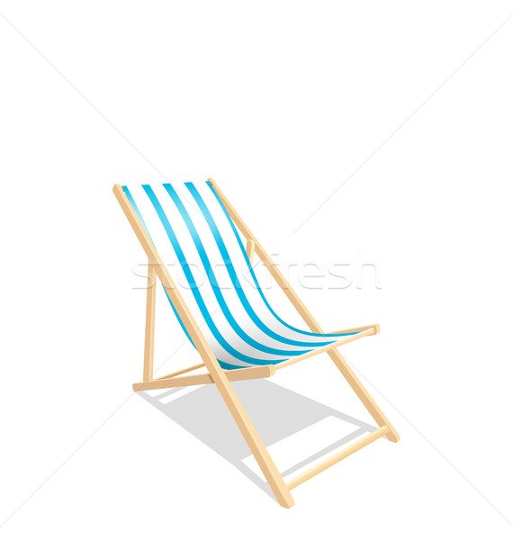 Wooden Beach Chaise Longue Isolated on White Background Stock photo © smeagorl