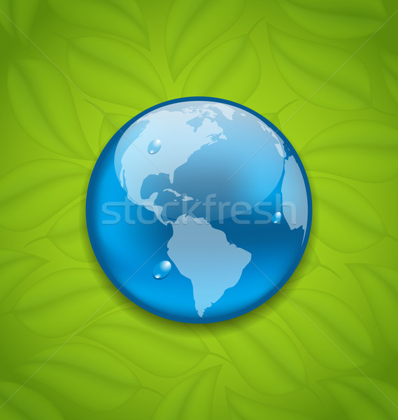 Planet Earth on green leaves texture  Stock photo © smeagorl