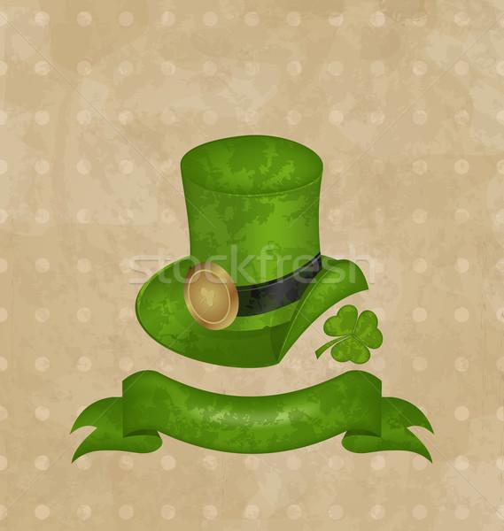 Green hat, clover, ribbon in saint Patrick Day Stock photo © smeagorl