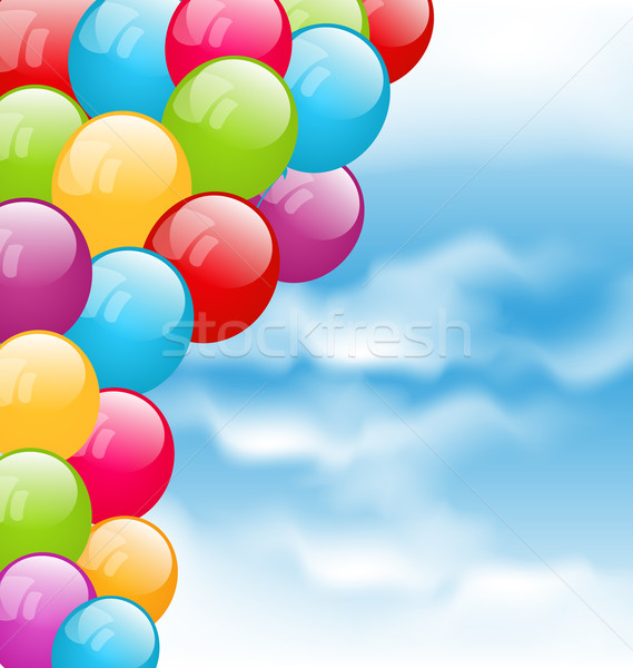 Battant coloré ballons ciel bleu illustration anniversaire Photo stock © smeagorl