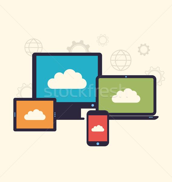 Felhő szolgáltatás mobil eszközök trendi stílus Stock fotó © smeagorl