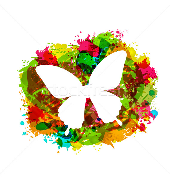 Simple White Butterfly on Colorful Grunge Damage Frame Stock photo © smeagorl