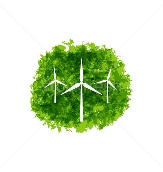 Set Wind Turbines Stock photo © smeagorl