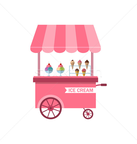 Icon of Stand of Ice Creams, Sweet Cart Isolated on White Background  Stock photo © smeagorl
