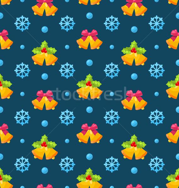Christmas Seamless Texture with Jingle Bells and Snowflakes Stock photo © smeagorl