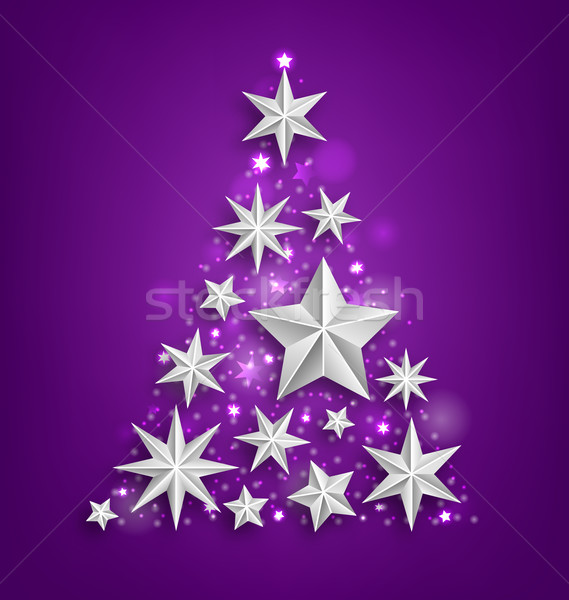 Abstract Garland Made of Silver Stars for Happy New Year 2016 Stock photo © smeagorl