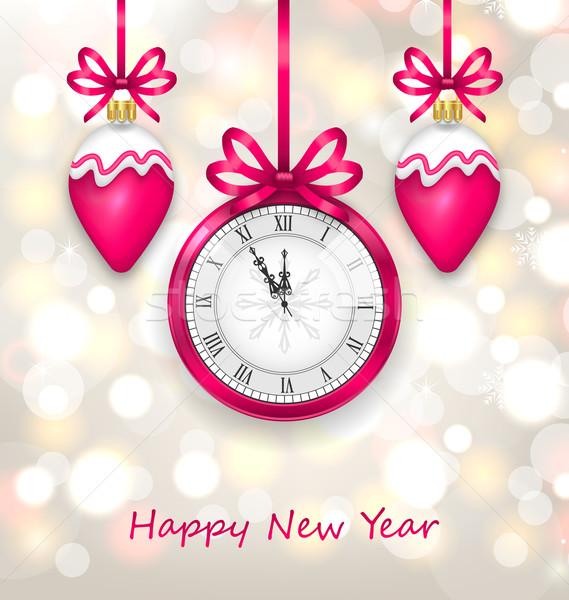 Новый год полночь часы иллюстрация Рождества Сток-фото © smeagorl