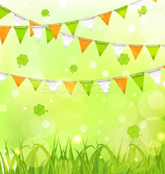ünnep Szent Patrik napja illusztráció ír színek fű Stock fotó © smeagorl