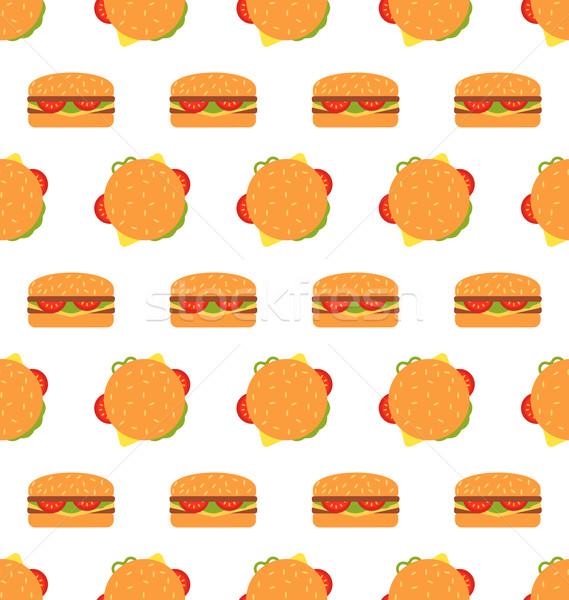 Seamless Texture with Hamburgers. Fast Food Pattern Stock photo © smeagorl