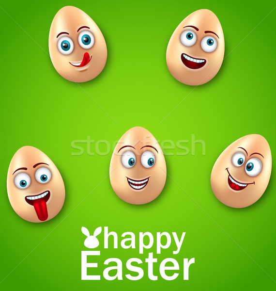 Happy Easter Card with Crazy Eggs, Positive Emotions Stock photo © smeagorl