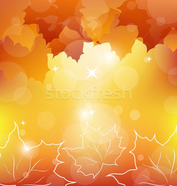 Stok fotoğraf: Sonbahar · turuncu · akçaağaç · yaprakları · örnek · gökyüzü