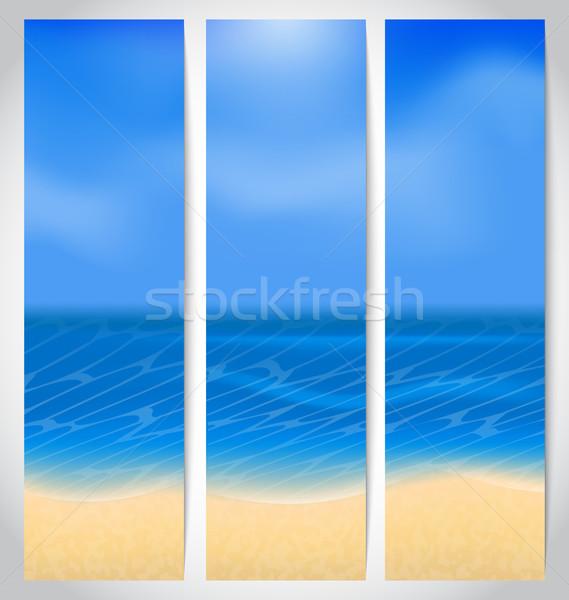 Szett kártyák nyári szabadság illusztráció tengerpart víz Stock fotó © smeagorl