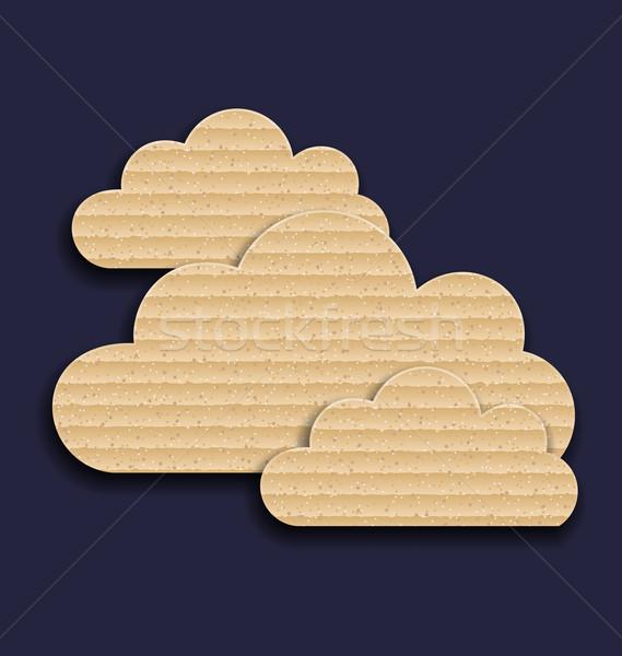 Stockfoto: Karton · papier · wolken · geïsoleerd · donkere · illustratie