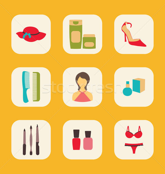 Flat icons set with a central woman surrounded by hat, creams, s Stock photo © smeagorl
