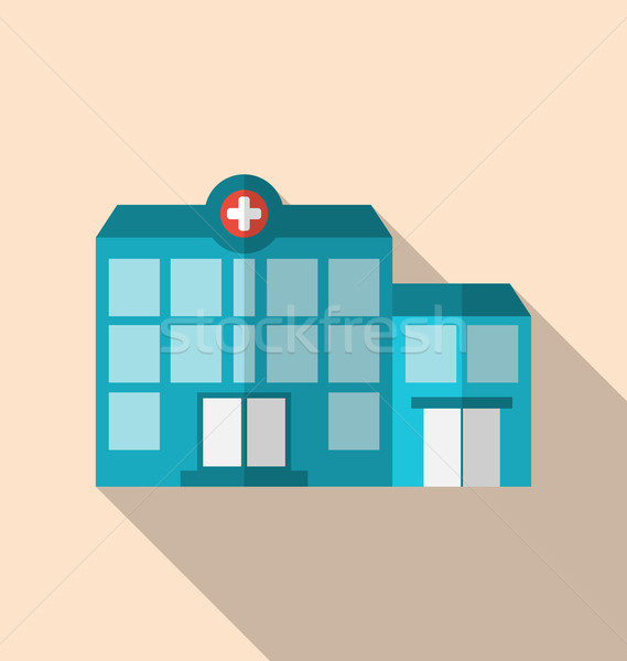 Flat icon of hospital building with long shadow Stock photo © smeagorl