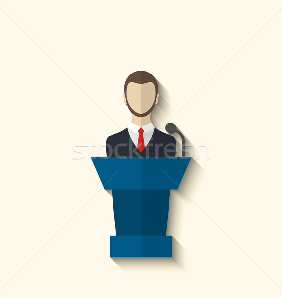Flat icon of orator speaking from rostrum, long shadow style Stock photo © smeagorl