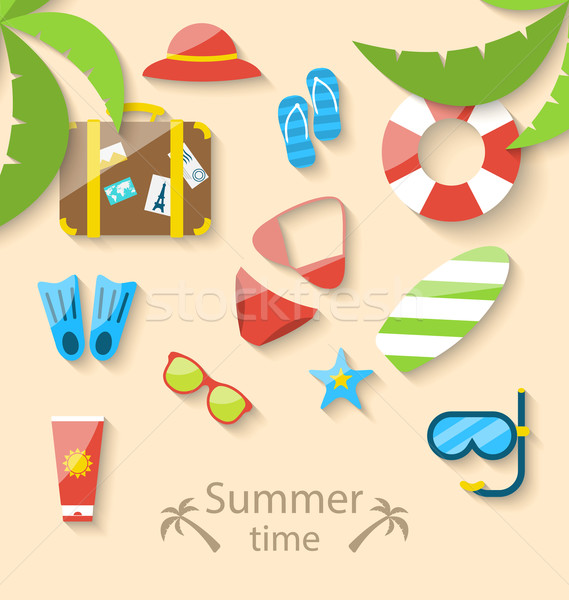 Stock fotó: Nyári · vakáció · idő · szett · színes · egyszerű · ikonok