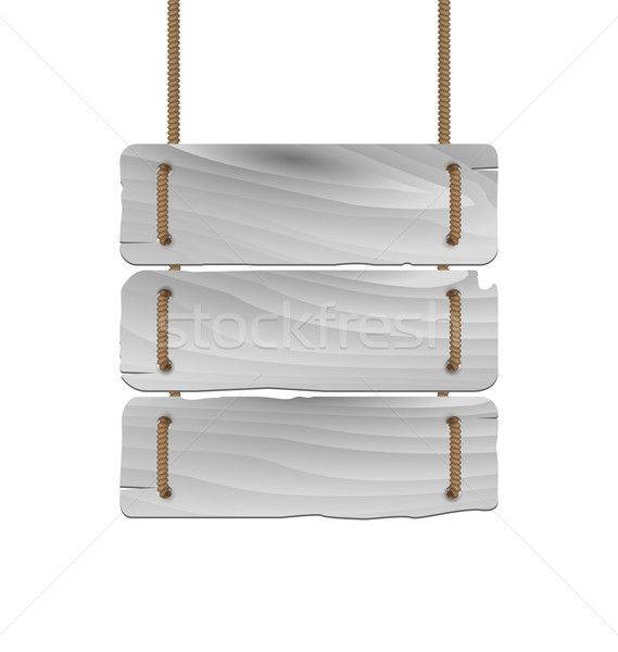 Hanging wooden sign isolated on a white background Stock photo © smeagorl