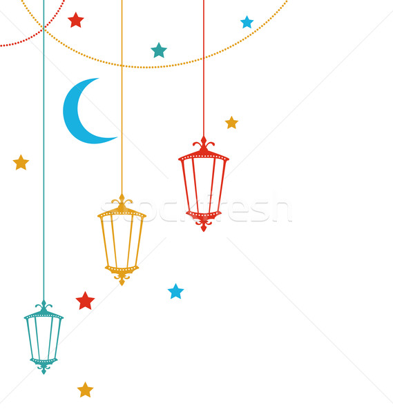 Foto stock: Ramadan · ilustração · colorido · lâmpadas · estrelas · lua
