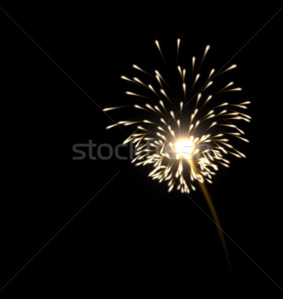 Illustration of realistic firework golden color Stock photo © smeagorl