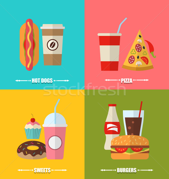 Set Fast Food And Drink Flat Colorful Simple Icons Vector