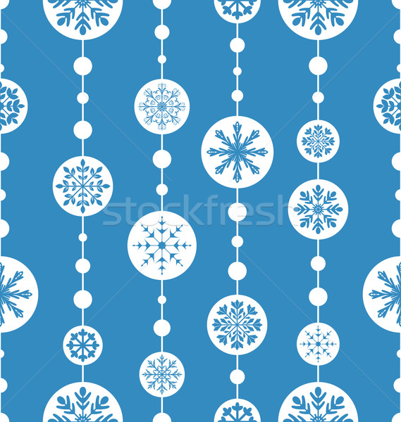 Stock photo: Seamless christmas pattern xmas ball toys snowflakes