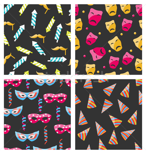 Stock photo: Collection Carnival Seamless Textures