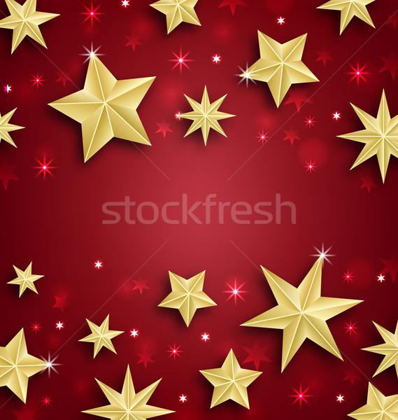 Csillagos keret vidám karácsony boldog új évet illusztráció Stock fotó © smeagorl
