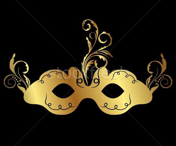 Stock photo: gold floral carnival mask isolated