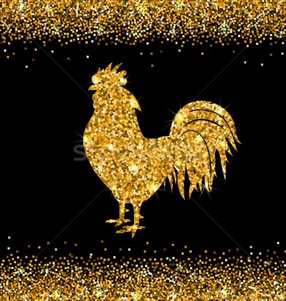 Shimmering Background with Rooster as Symbol Chinese New Year 2017 Stock photo © smeagorl